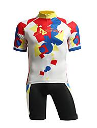 baratos -Jaggad Mulheres Manga Curta / Calça curta Camisa com Shorts para Ciclismo - Vermelho + azul Moto Shorts / Camisa / Roupas Para Esporte, Tapete 3D, Respirável Elastano, Coolmax®, Lycra