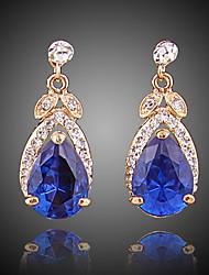 abordables -Mujer Zirconia Cúbica Pendientes cortos / Pendients de aro - Chapado en Oro Simple, Moda Azul Real Para Noche / Oficina y carrera