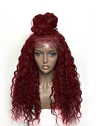cheap -Synthetic Wig / Synthetic Lace Front Wig Curly Layered Haircut 150% Density Synthetic Hair Heat Resistant / Natural Hairline / African American Wig Black / Burgundy Wig Women's Long Lace Front Wig