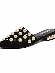 abordables -Femme Chaussures Polyuréthane Printemps / Automne Confort Sabot & Mules Talon Plat Noir / Rose
