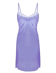 cheap -Women's Satin & Silk Chemises & Gowns Nightwear - Lace, Solid Colored Embroidered
