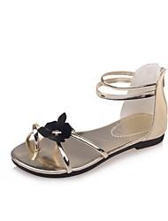 abordables -Femme Chaussures Polyuréthane Eté Confort Sandales Marche Talon Plat Bout ouvert Or / Noir / Argent