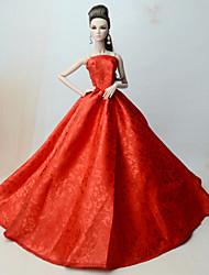お買い得  -ドレス ドレス ために バービー人形 レッド ポリ / コットン / レース / シルク / コットンのブレンド ドレス ために 女の子の 人形玩具