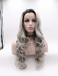 cheap -Synthetic Lace Front Wig Wavy Layered Haircut Synthetic Hair Curler & straightener Dark Gray Wig Women's Mid Length Lace Front / Yes