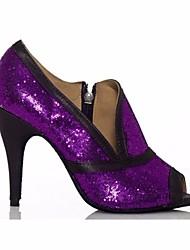 baratos -Mulheres Sapatos de Dança Latina Paetês Salto Salto Agulha Sapatos de Dança Roxo / Espetáculo / Couro / Ensaio / Prática