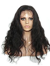 abordables -Cabello Remy Encaje Frontal Peluca Cabello Brasileño / Ondulado Grande Ondulado Peluca 150% 100% Virgen Mujer Larga Pelucas de Cabello Natural