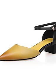 preiswerte -Damen Schuhe Leder Sommer Pumps High Heels Blockabsatz Spitze Zehe Schnalle für Draussen Gelb / Rot
