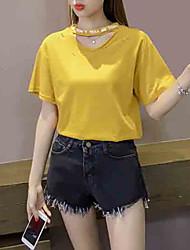 baratos -t-shirt feminina - carta de cor sólida em volta do pescoço