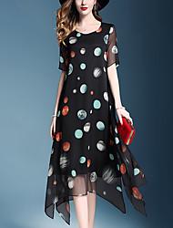 cheap -Women's Basic / Sophisticated Swing Dress - Geometric Print