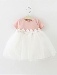 cheap -Baby Girls' Color Block Short Sleeve Dress
