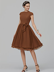 cheap -A-Line Jewel Neck Knee Length Chiffon Bridesmaid Dress with Sash / Ribbon by LAN TING BRIDE®