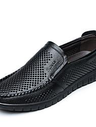 preiswerte -Herrn Schuhe Leder Sommer Komfort Loafers & Slip-Ons Schwarz / Gelb / Braun