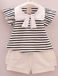 Недорогие -Дети Дети (1-4 лет) Девочки Полоски С короткими рукавами Набор одежды
