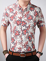 cheap -Men's Shirt - Floral Classic Collar / Please choose one size larger according to your normal size. / Short Sleeve