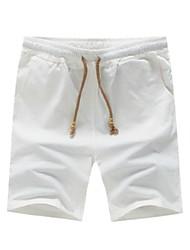 economico -Per uomo Taglie forti Cotone / Lino Taglia piccola Pantaloncini Pantaloni - Tinta unita