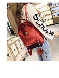 cheap -Women's Bags Velvet School Bag Zipper Green / Black / Red