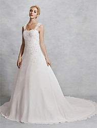 cheap -A-Line Strap Chapel Train Chiffon Made-To-Measure Wedding Dresses with Beading / Lace by LAN TING BRIDE®