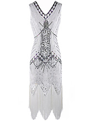 cheap -The Great Gatsby 1920s / The Great Gatsby Costume Women's Dress White / Black Vintage Cosplay Polyester Sleeveless / Sequins
