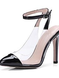 Недорогие -Жен. Обувь Лакированная кожа Весна лето Туфли лодочки Обувь на каблуках На шпильке Заостренный носок Черный / Бежевый / Красный