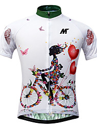cheap -Mysenlan Women's Short Sleeve Cycling Jersey - White Floral / Botanical Bike Jersey, Quick Dry, Ultraviolet Resistant, Breathable / Stretchy / Italy Imported Ink / Breathable Armpits