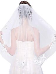 Недорогие -Один слой Цветочный дизайн / Сетка / Украшения для волос Свадебные вуали Фата до локтя С Бахрома / Планка 31.5 (80 см) Полиэфир / Тюль