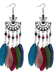 abordables -Mujer Tanzanita sintética Largo Pendientes colgantes - Pluma Vintage, Étnico, Moda Arco Iris / Rojo / Azul Para Fiesta / Noche / Fiesta de Noche