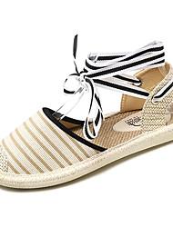 povoljno -Žene Cipele Platno Ljeto Remen oko gležnja Sandale Ravna potpetica Okrugli Toe Crn / Bež / Prugasti uzorak
