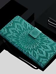 Недорогие -Кейс для Назначение Huawei Honor 10 / Honor 9 Кошелек / Бумажник для карт / со стендом Чехол Цветы Твердый Кожа PU для Huawei Honor 10 / Honor 9 / Honor 8
