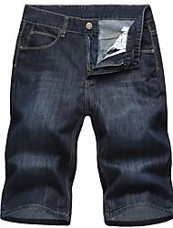 abordables -Hombre Tallas Grandes Algodón Vaqueros / Shorts Pantalones - Un Color / Por favor, elija una talla más que su talla normal.