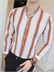 Недорогие -Муж. С принтом Рубашка Деловые Полоски