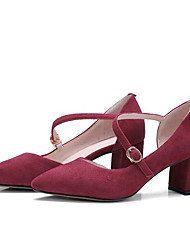 Недорогие -Жен. Обувь Замша Весна / Лето Удобная обувь Обувь на каблуках На толстом каблуке Заостренный носок Пряжки Серый / Красный / Миндальный