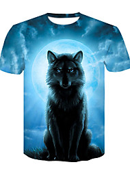 cheap -Men's Basic / Street chic T-shirt - Color Block / Animal Wolf, Print