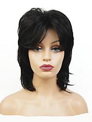 Недорогие -Парики из искусственных волос Жен. Матовое стекло Черный Стрижка каскад Искусственные волосы 100% волосы канекалона Черный Парик Средняя длина Без шапочки-основы Черный StrongBeauty