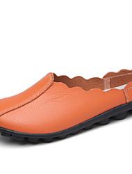 Недорогие -Жен. Обувь Кожа Весна лето Удобная обувь / Мокасины На плокой подошве На плоской подошве Коричневый / Красный / Синий