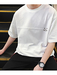 baratos -Homens Camiseta Básico Sólido / Letra
