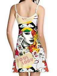 abordables -Femme Basique Gaine Robe - Imprimé, Fleur / Géométrique Au dessus du genou