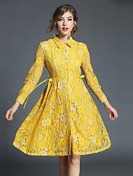 baratos -Mulheres Moda de Rua / Sofisticado Evasê Vestido - Renda, Floral Altura dos Joelhos