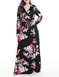 abordables -Mujer Tejido Oriental / Sofisticado Recto / Corte Swing Vestido - Lazo, Floral / A Cuadros Maxi