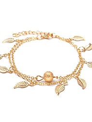 Недорогие -Длиные лодыжке браслет - В форме листа Милая, Мода Золотой / Серебряный Назначение Школа / На выход / Жен.