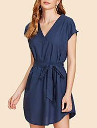 cheap -Women's Basic Shirt Dress - Solid Colored Lace up