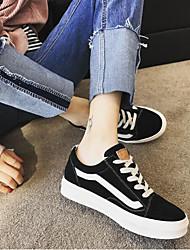 Недорогие -Жен. Обувь Нубук Весна лето Удобная обувь Кеды На плоской подошве Круглый носок Черный / Серый / Хаки