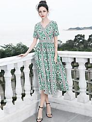 Недорогие -Жен. Классический / Богемный С летящей юбкой Платье - Цветочный принт, С принтом Средней длины