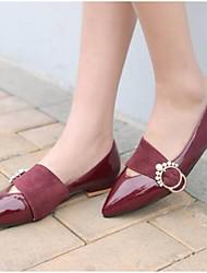 baratos -Mulheres Sapatos Couro Envernizado Primavera Conforto Mocassins e Slip-Ons Salto Baixo Preto / Vermelho / Festas & Noite