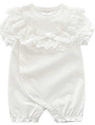 cheap -Baby Girls' Active Solid Colored Lace Short Sleeves Cotton Romper