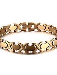 Недорогие -Муж. Браслет - нержавеющий Сердце Мода Браслеты Золотой / Серебряный Назначение Подарок Повседневные
