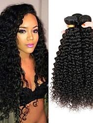 cheap -4 Bundles Peruvian Hair / Kinky Curly Curly Human Hair Natural Color Hair Weaves / Costume Accessories / Extension 8-28 inch Human Hair Weaves Machine Made Soft / Classic / Hot Sale Natural Color