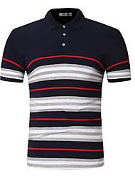 cheap -Men's Polo - Striped Shirt Collar / Short Sleeve