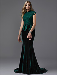 cheap -Mermaid / Trumpet High Neck Court Train Lace / Velvet Sparkle & Shine Formal Evening Dress with Beading by TS Couture®