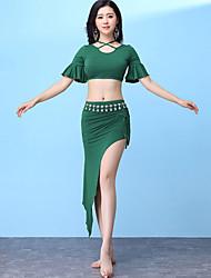 baratos -Dança do Ventre Roupa Mulheres Treino Modal Babados em Cascata / Com Fenda Manga Curta Caído Saias / Blusa