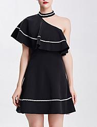 cheap -Women's Going out Little Black Dress High Waist One Shoulder